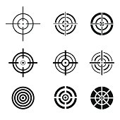 Collection of black target icons. Aim signs set.