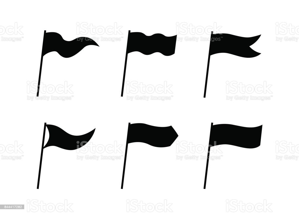 Collection of black vector simple flag icons isolated on white background vector art illustration