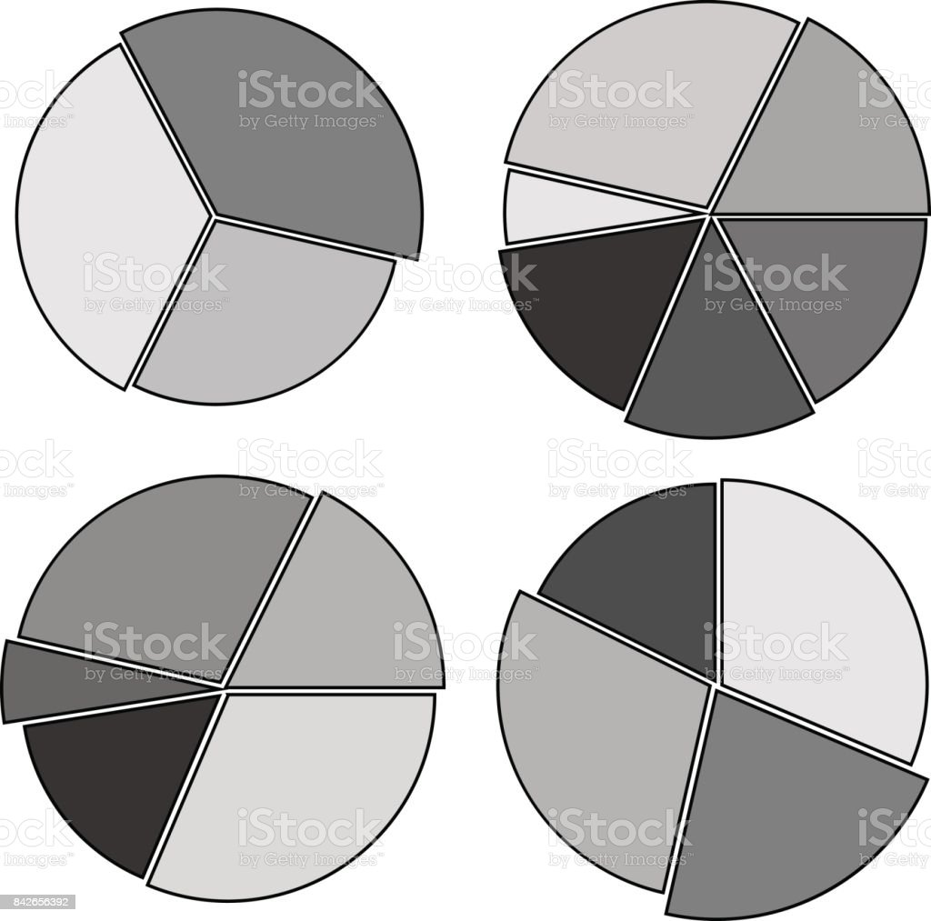 collection of black-and-white circular diagrams vector art illustration