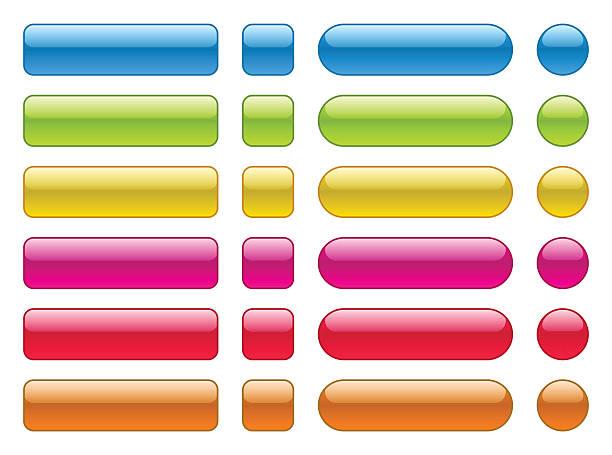 illustrazioni stock, clip art, cartoni animati e icone di tendenza di collezione di bottoni colorati vuoto - tastierino numerico