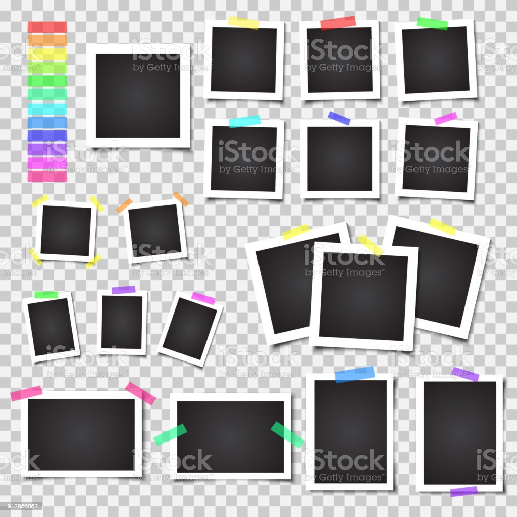Collection of blank photo frames with shadow. Big set. Different colorful tapes - illustrazione arte vettoriale