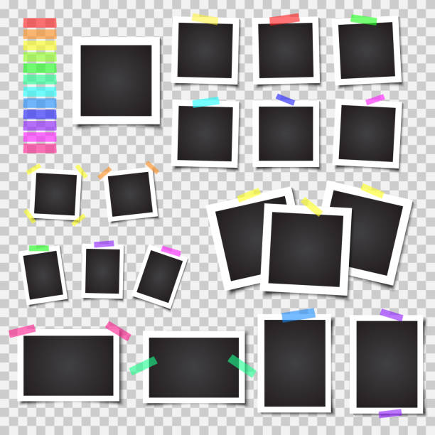 Collection of blank photo frames with shadow. Big set. Different colorful tapes Collection of blank photo frames with shadow. Big set. Different colorful tapes. Vector illustration on transparent background. photo album stock illustrations