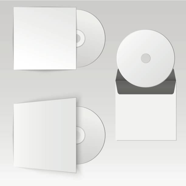illustrazioni stock, clip art, cartoni animati e icone di tendenza di collezione di mock up cd realistico vuoto con busta, design del pacchetto. illustrazione vettoriale - box name
