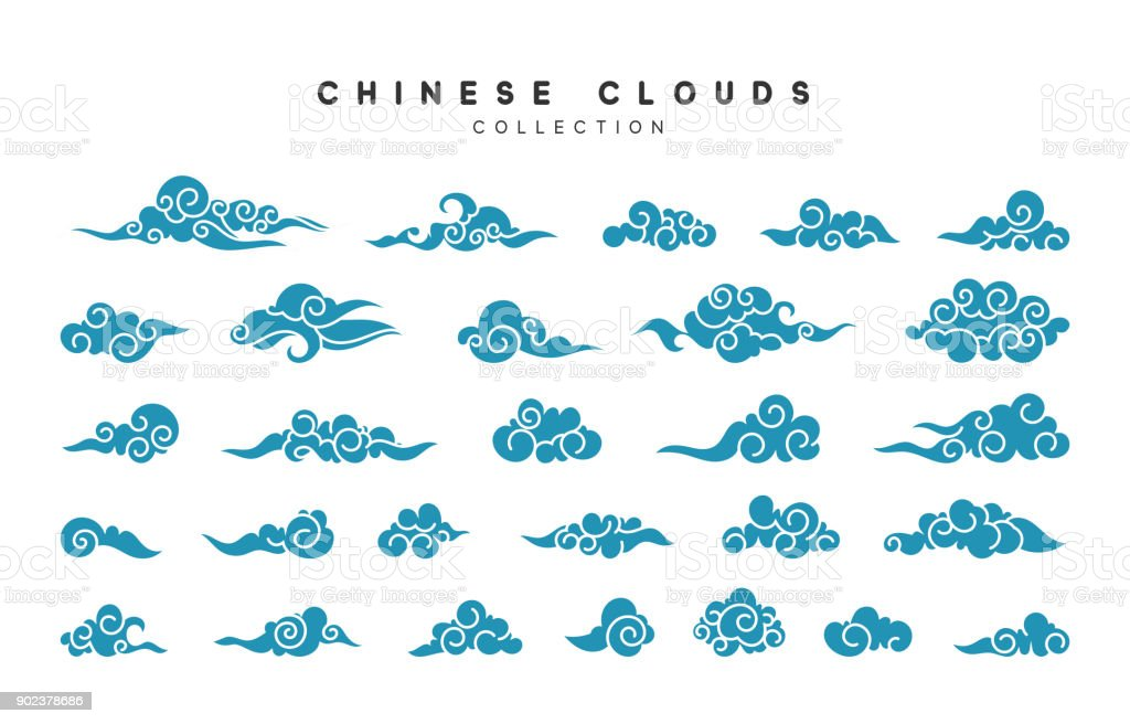 Collection of blue clouds in Chinese style vector art illustration
