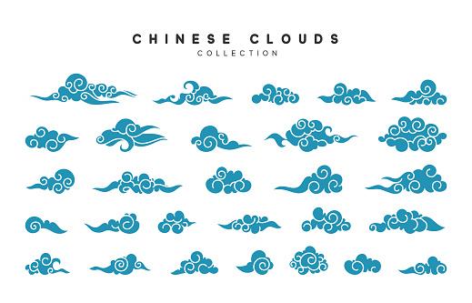 Collection Of Blue Clouds In Chinese Style - Stockowe grafiki wektorowe i więcej obrazów Azja