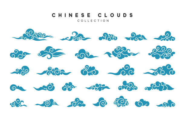 collection of blue clouds in chinese style - clouds stock illustrations