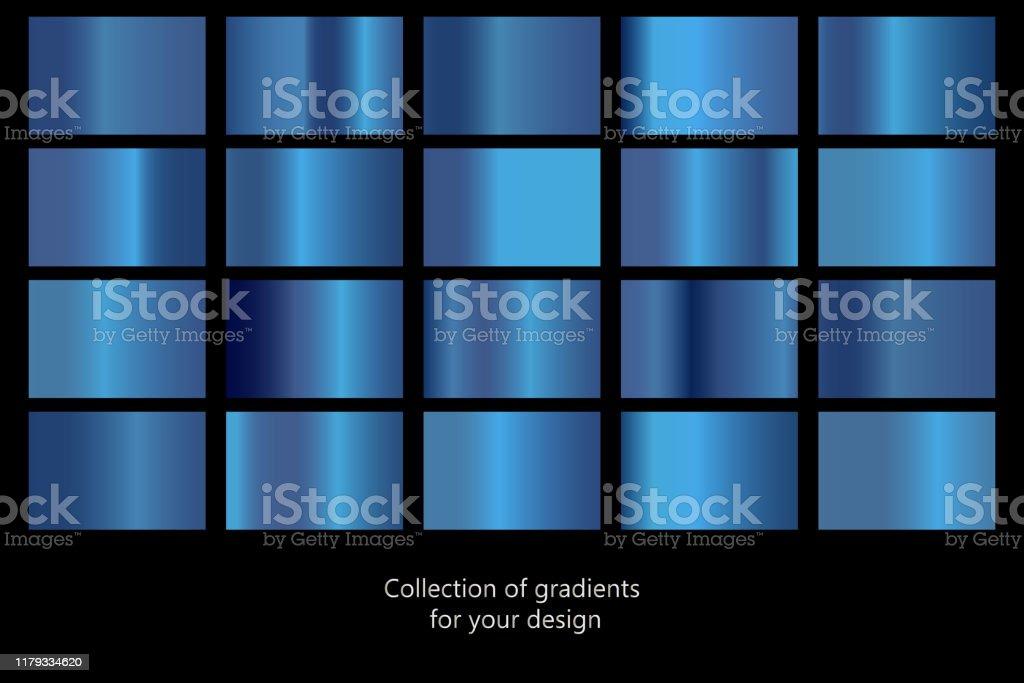 Sammlung von blauen Farbverlaufshintergründen. Satz von blauen metallischen Texturen. Vektor-Illustration - Lizenzfrei Abstrakt Vektorgrafik