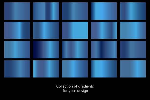 kolekcja niebieskich tła gradientu. zestaw niebieskich metalowych tekstur. ilustracja wektorowa - metal stock illustrations
