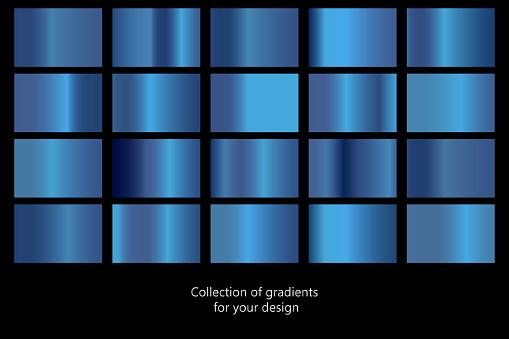 Sammlung Von Blauen Farbverlaufshintergründen Satz Von Blauen Metallischen Texturen Vektorillustration Stock Vektor Art und mehr Bilder von Abstrakt