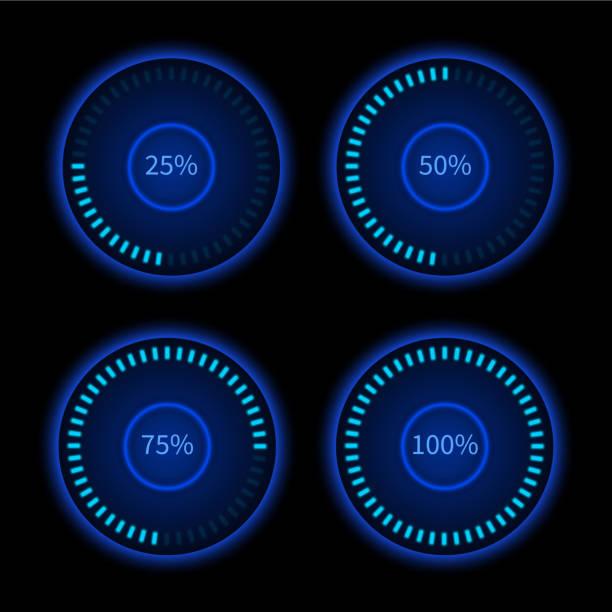 sammlung von blau runde fortschritte kreisen. download zeichen. load-system - nummernscheibe stock-grafiken, -clipart, -cartoons und -symbole