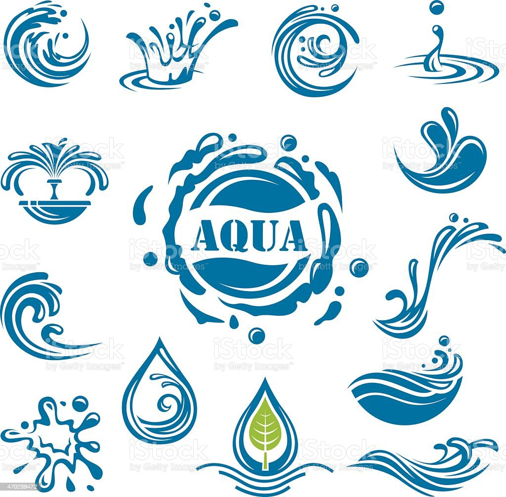 Collection of blue water icons on white background vector art illustration