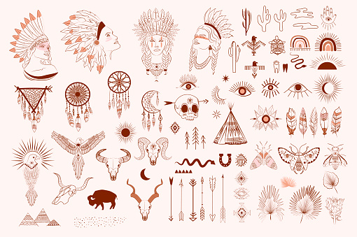 Collection of boho and tribal elements, woman face portrait, dreamcatcher, birds, animals skull, esoteric elements, insect and plants.