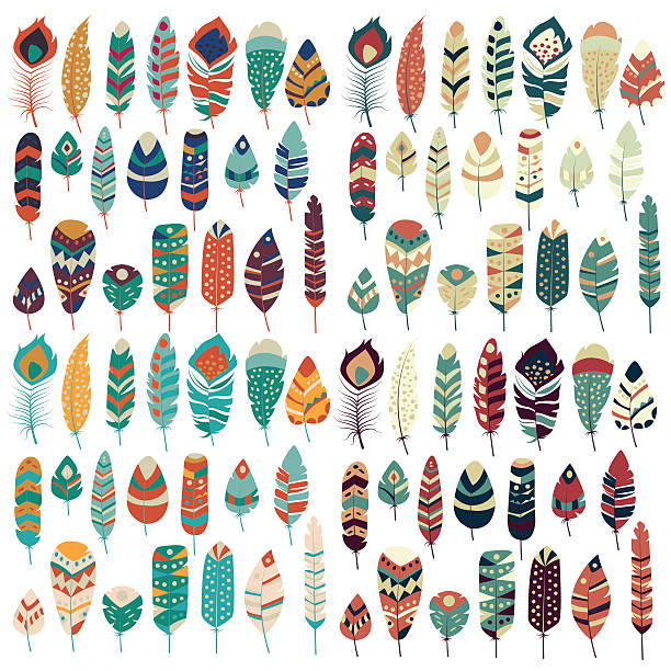 Collection of boho vintage tribal ethnic hand drawn colorful feathers vector art illustration