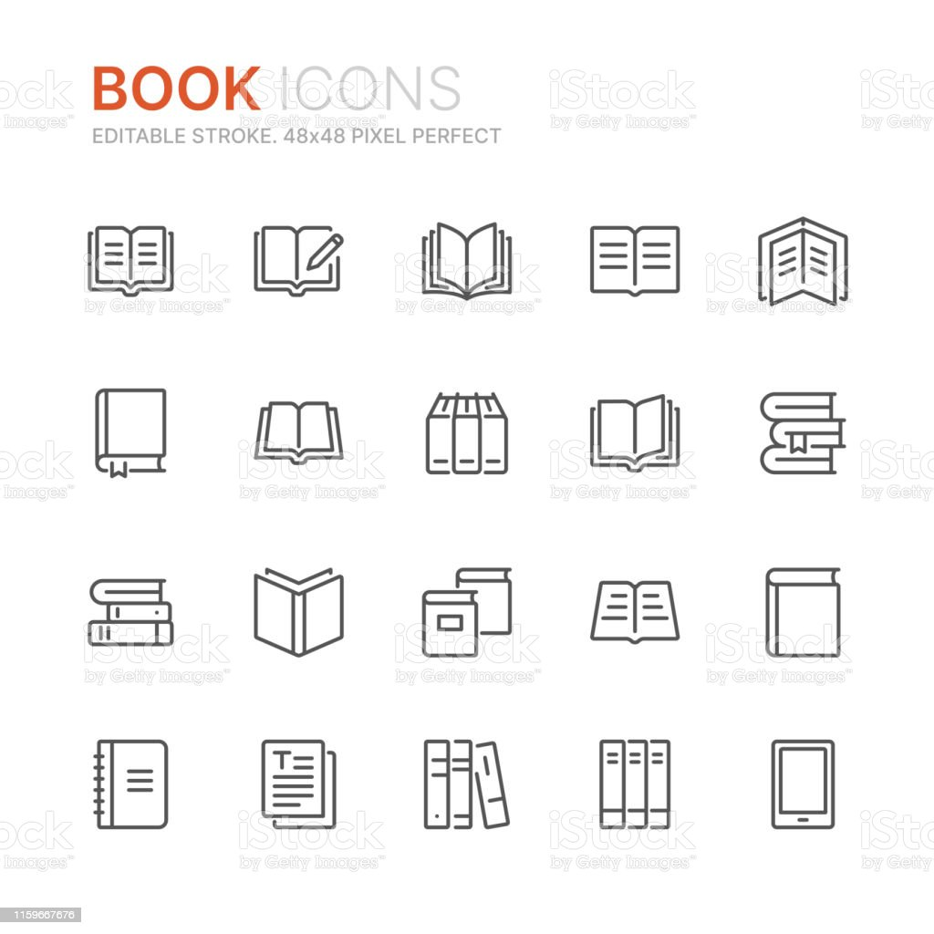 Collection of books line icons. 48x48 Pixel Perfect. Editable stroke - Royalty-free Aberto arte vetorial