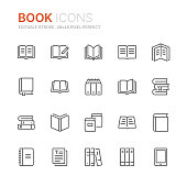 Collection of books line icons. 48x48 Pixel Perfect. Editable stroke