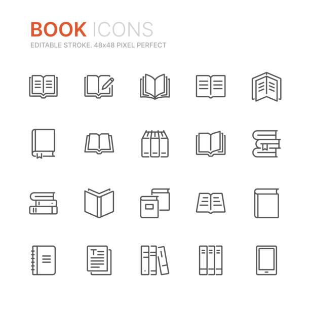 illustrazioni stock, clip art, cartoni animati e icone di tendenza di collection of books line icons. 48x48 pixel perfect. editable stroke - book