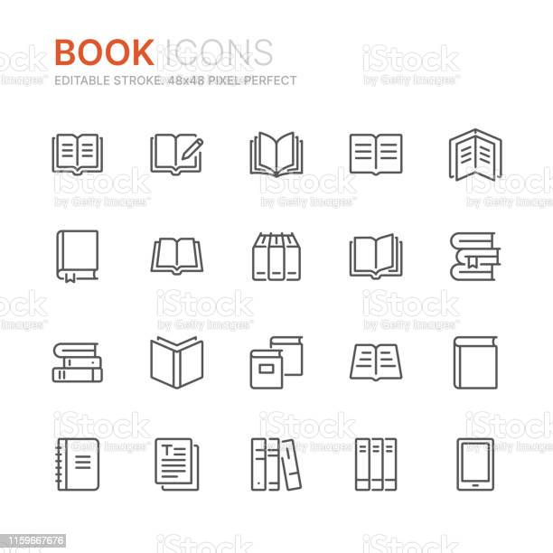 Collection Of Books Line Icons 48x48 Pixel Perfect Editable Stroke - Arte vetorial de stock e mais imagens de Aberto