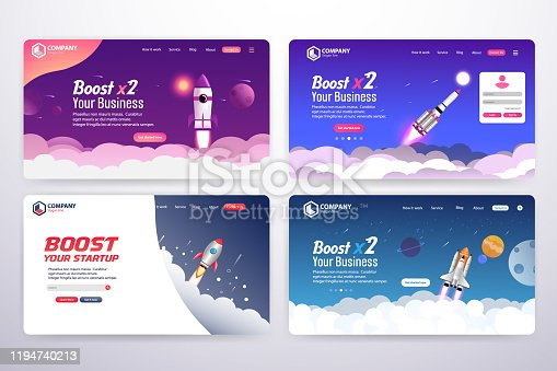 Collection of Boost Business Website Landing Page Vector Template Design Concept