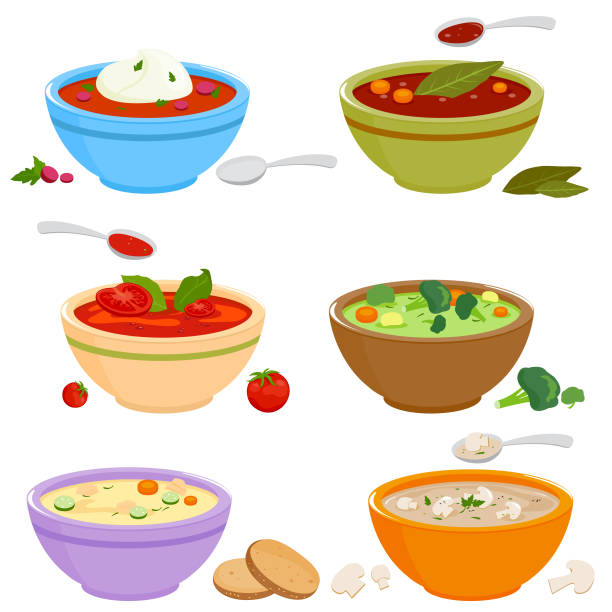 Collection of bowls of different types of soup. Vector illustration Vector set of bowls of soup with vegetables, mushrooms, chicken, Russian borscht soup, tomato and lentil soup on white background. vegetable soup stock illustrations