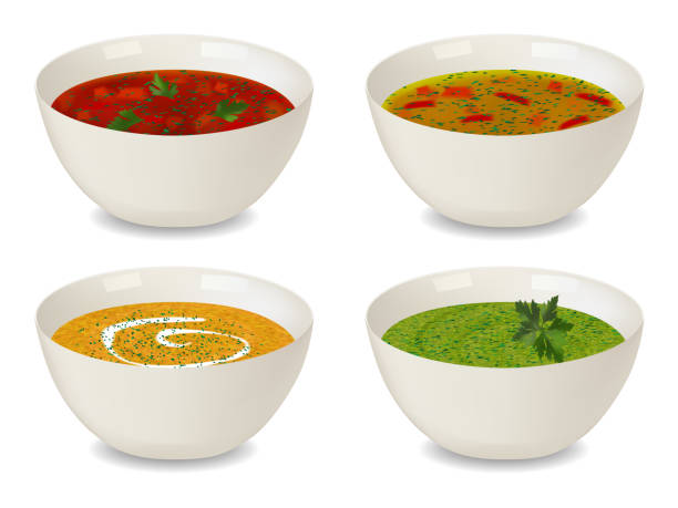 ilustrações de stock, clip art, desenhos animados e ícones de collection of bowls with soup and cream soup. with greenery and decorations. isolated objects on white background. realistic style. vector illustration. - sopa