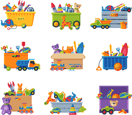 Collection of Boxes with Various Colorful Toys, Plastic and Cardboard Containers with Baby Playthings Flat Vector Illustration on White Background.