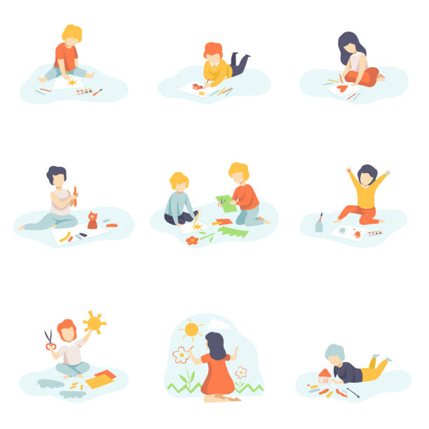 collection of boys and girls sitting on floor painting, cutting with scssors, drawing with pencils, modelling from plasticine, kids creativity, education, development vector illustration - art and craft stock illustrations