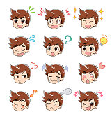 A collection of boys' face icons. Various facial expressions.
