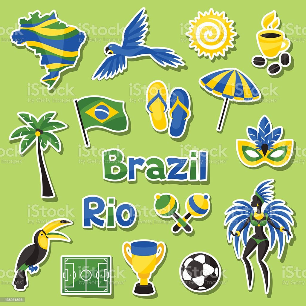 Collection of Brazil sticker objects and cultural symbols vector art illustration