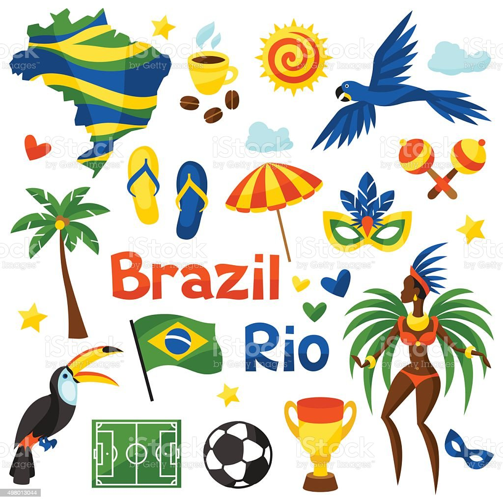 Collection of Brazil stylized objects and cultural symbols vector art illustration