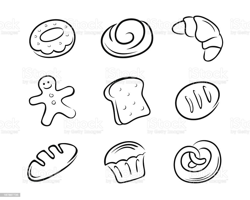 Collection of Bread Vector Illustration royalty-free collection of bread vector illustration stock vector art & more images of bagel