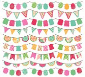 Collection of Bright and Colorful Holiday, Birthday or Party Bunting