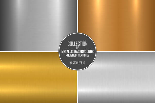 Collection of bright brushed metallic textures. Shiny polished metal backgrounds vector art illustration