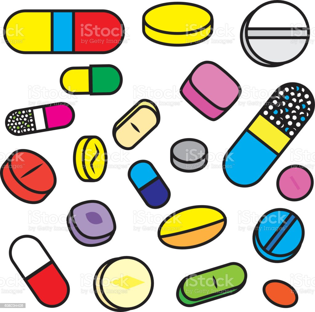 Collection Of Bright Cartoon Vector Drugs And Pills Stock