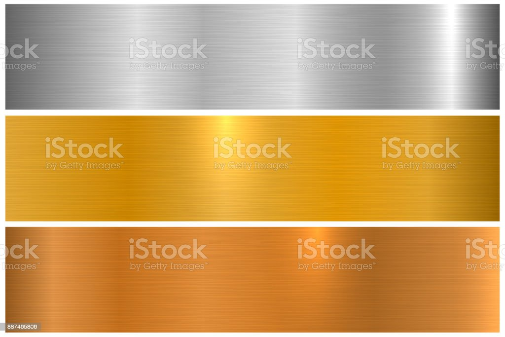 Collection of bright colorful metallic textures. Shiny polished metal banners vector art illustration