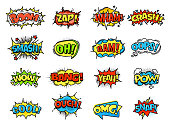 Collection of bright, colorful, multi-colored speech bubbles, with text, texture