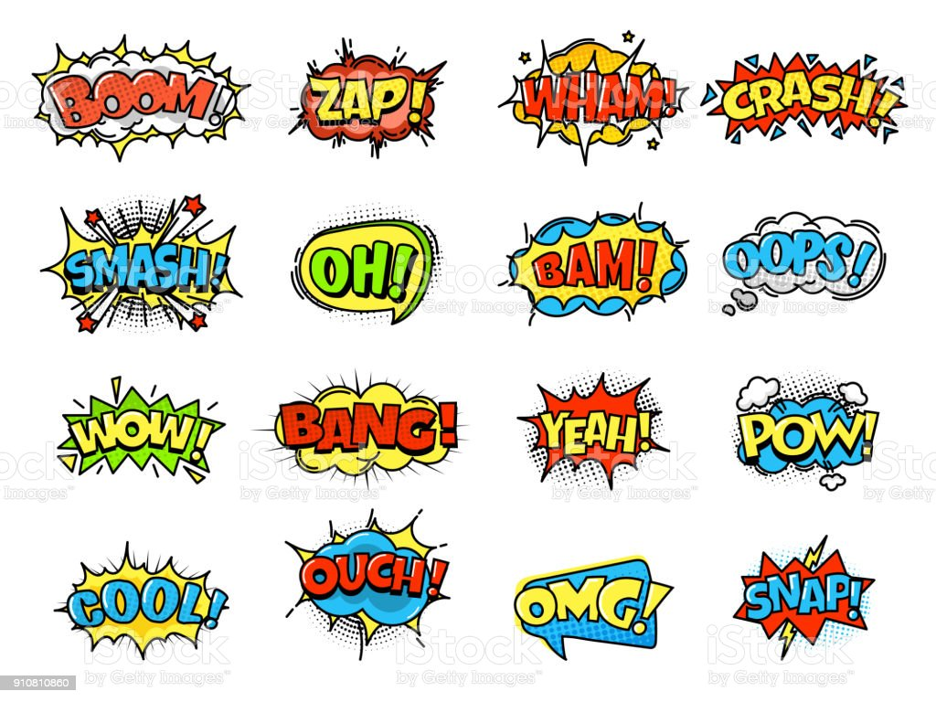 Collection of bright, colorful, multi-colored speech bubbles, with text, texture vector art illustration