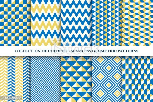 Collection of bright seamless colorful geometric patterns. Endless fanky textures. Vibrant tileable unusual backgrounds for your any design and ideas.