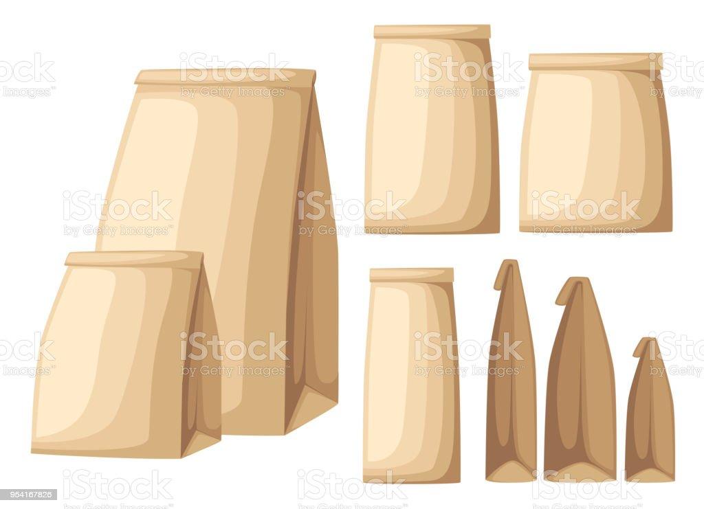 67a15521a99 Verzameling van bruin gerecycled eco papier tas zijaanzicht en vooraanzicht  platte vectorillustratie op witte achtergrondpagina van. Open test ...
