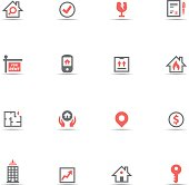 Icon Set, Real Estate on white background, made in adobe Illustrator (vector)