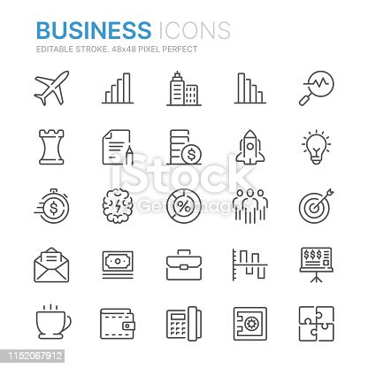Collection of business line icons. 48x48 Pixel Perfect. Editable stroke