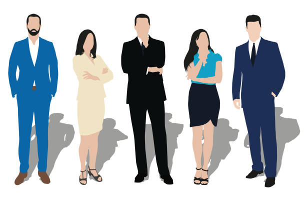 다른 포즈에 비즈니스 사람들의 삽화의 컬렉션입니다. 직장에서의 남성과 여성 - 단정한 사무복 stock illustrations