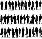 Collection of thirty-four discinct business people silhouette.  Some are carrying documents, some of the women have a purs, one is holding a laptop.  Most of them are facing forward and they all have formal business clothing such as suits.