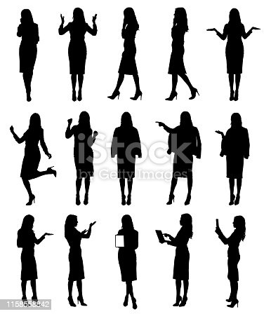 istock Collection of business woman or teacher wearing skirt in different situations and gestures. 1158558842