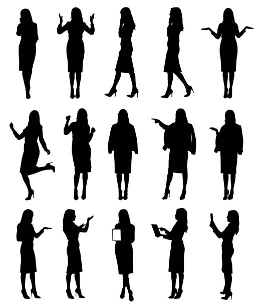 Collection of business woman or teacher wearing skirt in different situations and gestures. Collection of business woman or teacher wearing skirt in different situations and gestures.  Easy editable vector illustration. business silhouettes stock illustrations