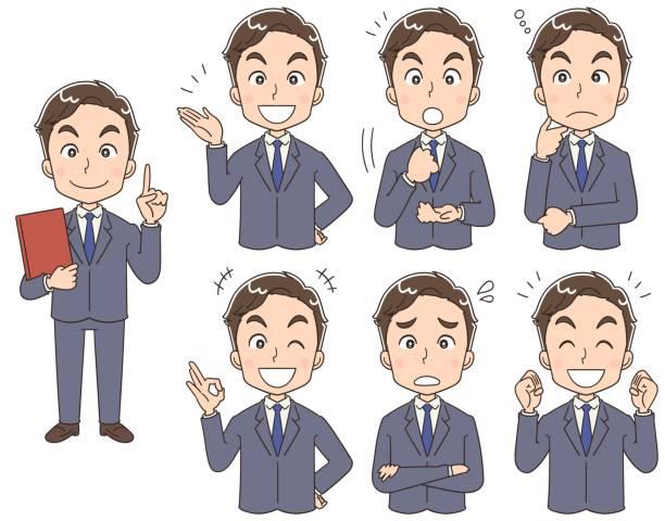 様々 な表情を持つビジネスマンのコレクション - ビジネスマン 日本人点のイラスト素材/クリップアート素材/マンガ素材/アイコン素材