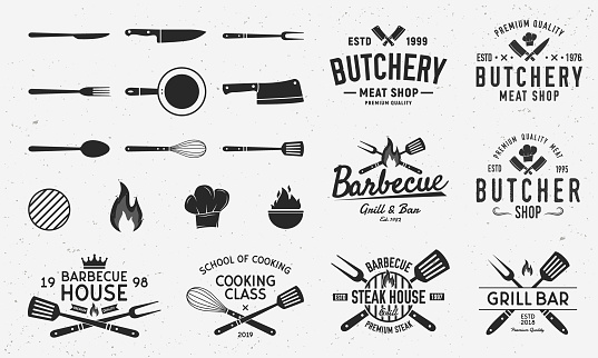 Collection of Butchery, Barbecue and Grill  s, emblems, labels, badges. Set of 8  templates and 13 design elements for  design. Vector templates