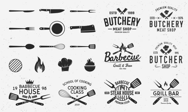 Collection of Butchery, Barbecue and Grill  s, emblems, labels, badges. Set of 8  templates and 13 design elements for  design. Vector templates Vector illustration frying pan stock illustrations