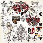 Collection of heraldic elements  with lion, shield,  griffin etc