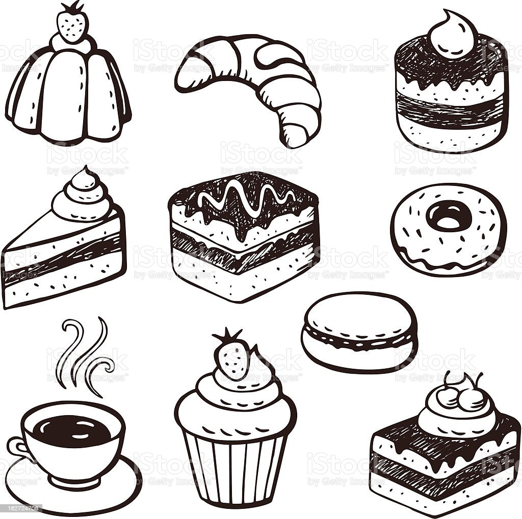 Collection of cake and bakery doodles vector art illustration