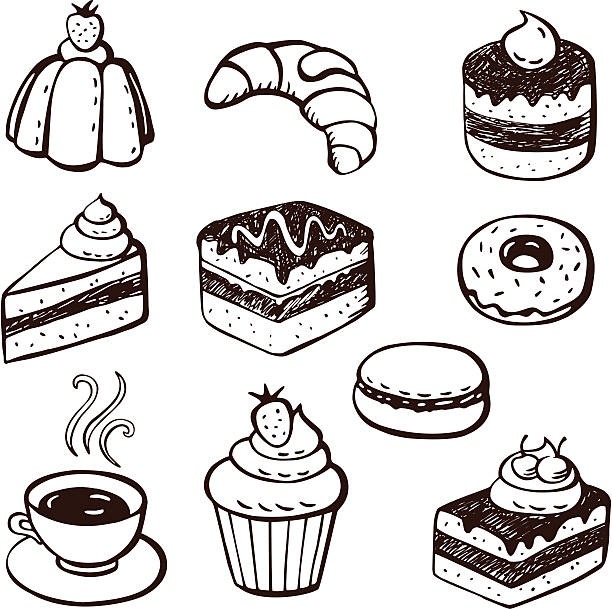 bildbanksillustrationer, clip art samt tecknat material och ikoner med collection of cake and bakery doodles - brownie